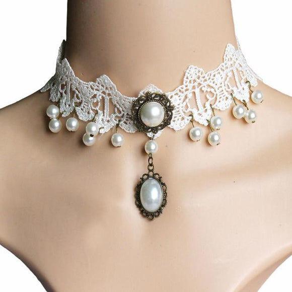 Fashion Girl Handmade Gothic Retro Pearl Vintage Lace Collar Choker Necklace