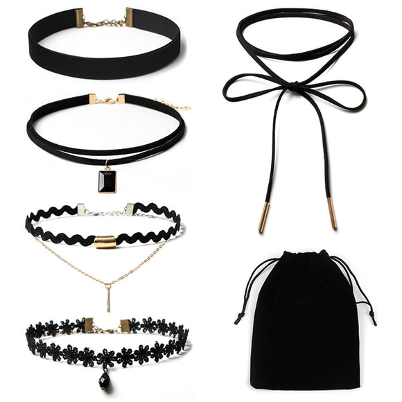 5Pieces Choker Necklace Set Stretch Velvet Classic Gothic Tattoo Lace Choker005