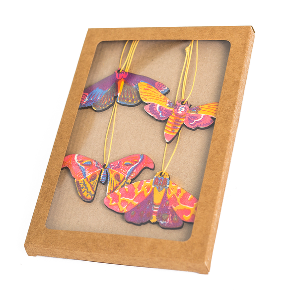 Pack of Four Wooden Moths Decoration