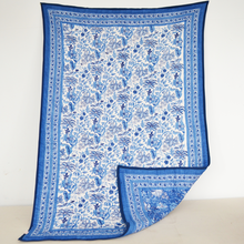 Block Printed 100% Cotton Quilt Classic Blue and White
