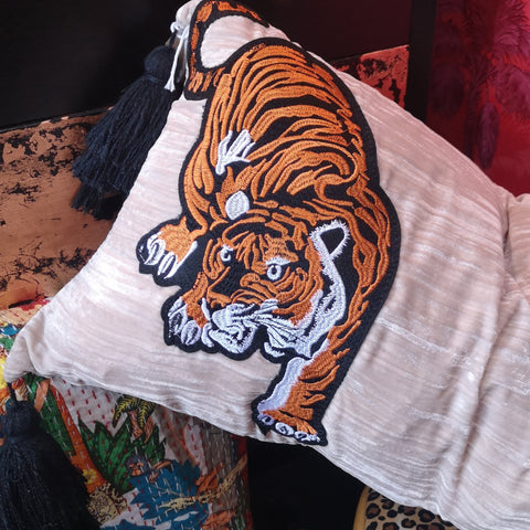 Velvet Tiger Appliqued Cushion with Feather Insert