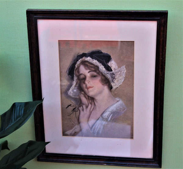 Vintage Framed Pastel Picture of a Lady