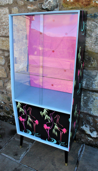 Vintage/Kitsch Flamingo Display/Drinks/Cocktail Cabinet Upcycled