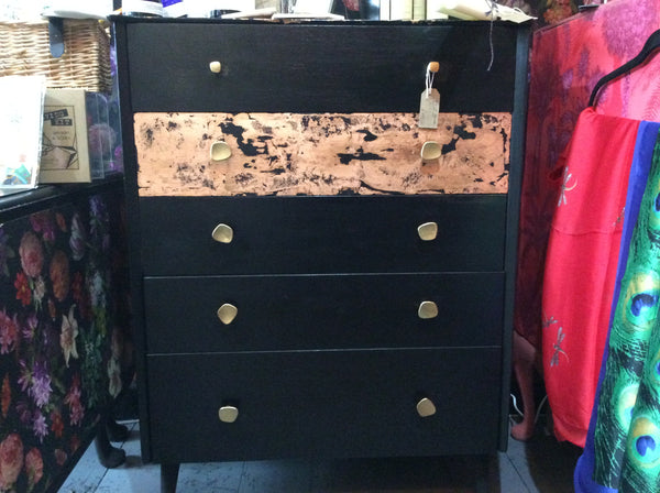 Upcycled  Black Chest of Drawers with Coppered Top and Drawer Front