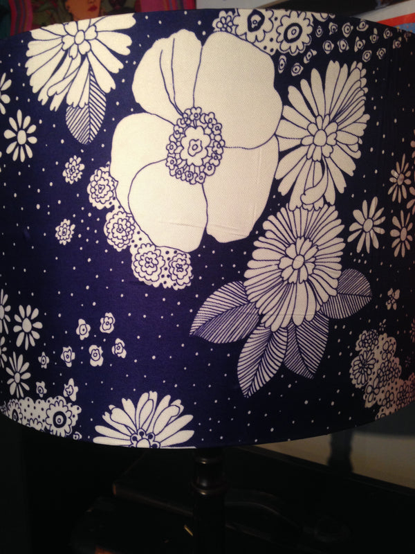 Vintage Blue Daisy Print Lampshade 40cm