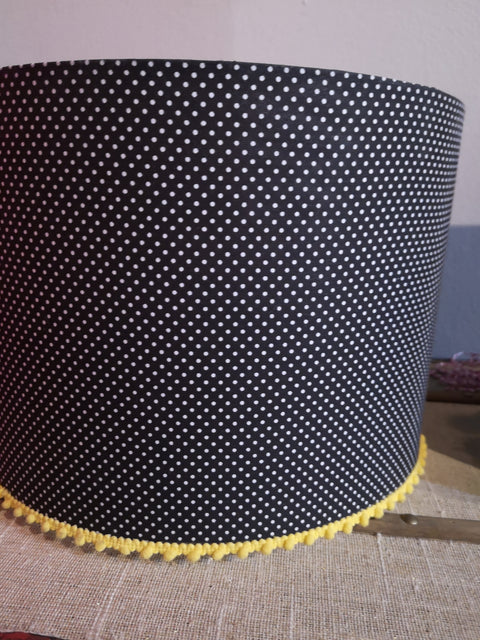 Navy Polka Dot Lampshade with Yellow Pom Poms
