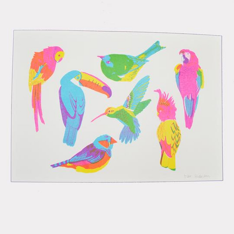 Riso Print - Tropical Birds