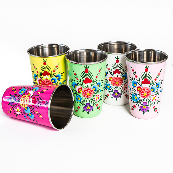 Hand Painted Enamel Tumbler - White
