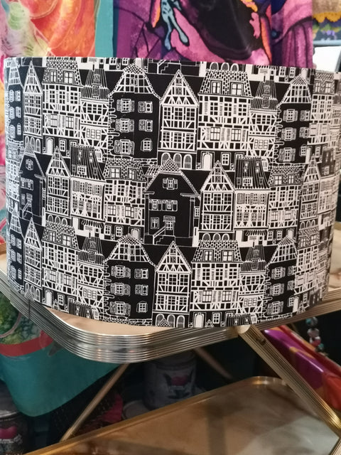 Black and White Dutch Building Print Lampshade 40cm