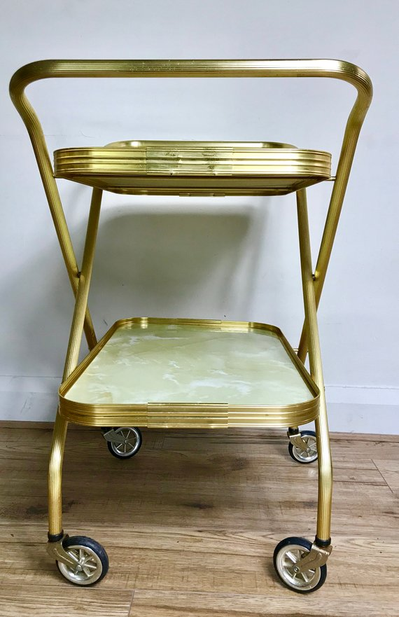 Retro 1960s Gold Folding Trolley Drinks Trolley
