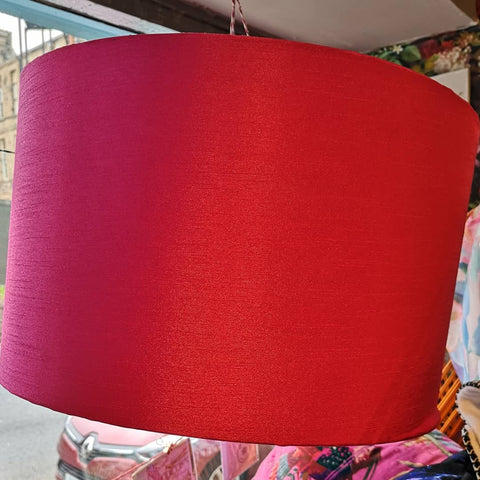 Hot Pink Lampshade with Teal Lemur Print