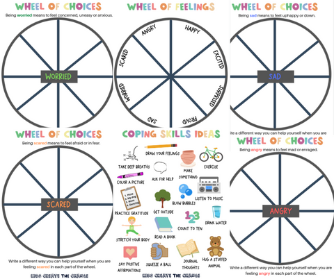 Free kids printables on understanding and labeling feelings and building emotional intelligence