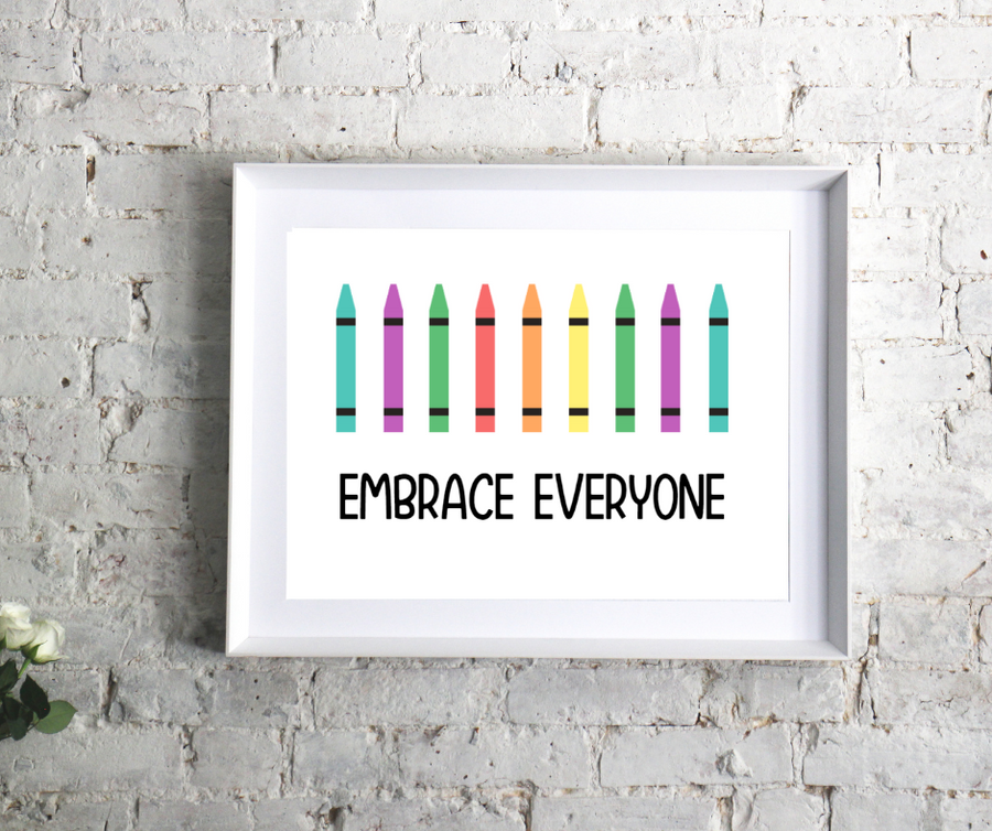 We believe that everyone can be embraced and accepted for who they are and how they look. This charming kid's affirmation printable is an empowering and adorable addition to any playroom, classroom, or kid's room. Diversity, inclusivity, and equality matter.