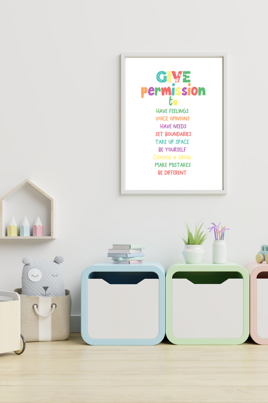 Give Permission to Affirmation Print | Kids Mindfulness And Meditation