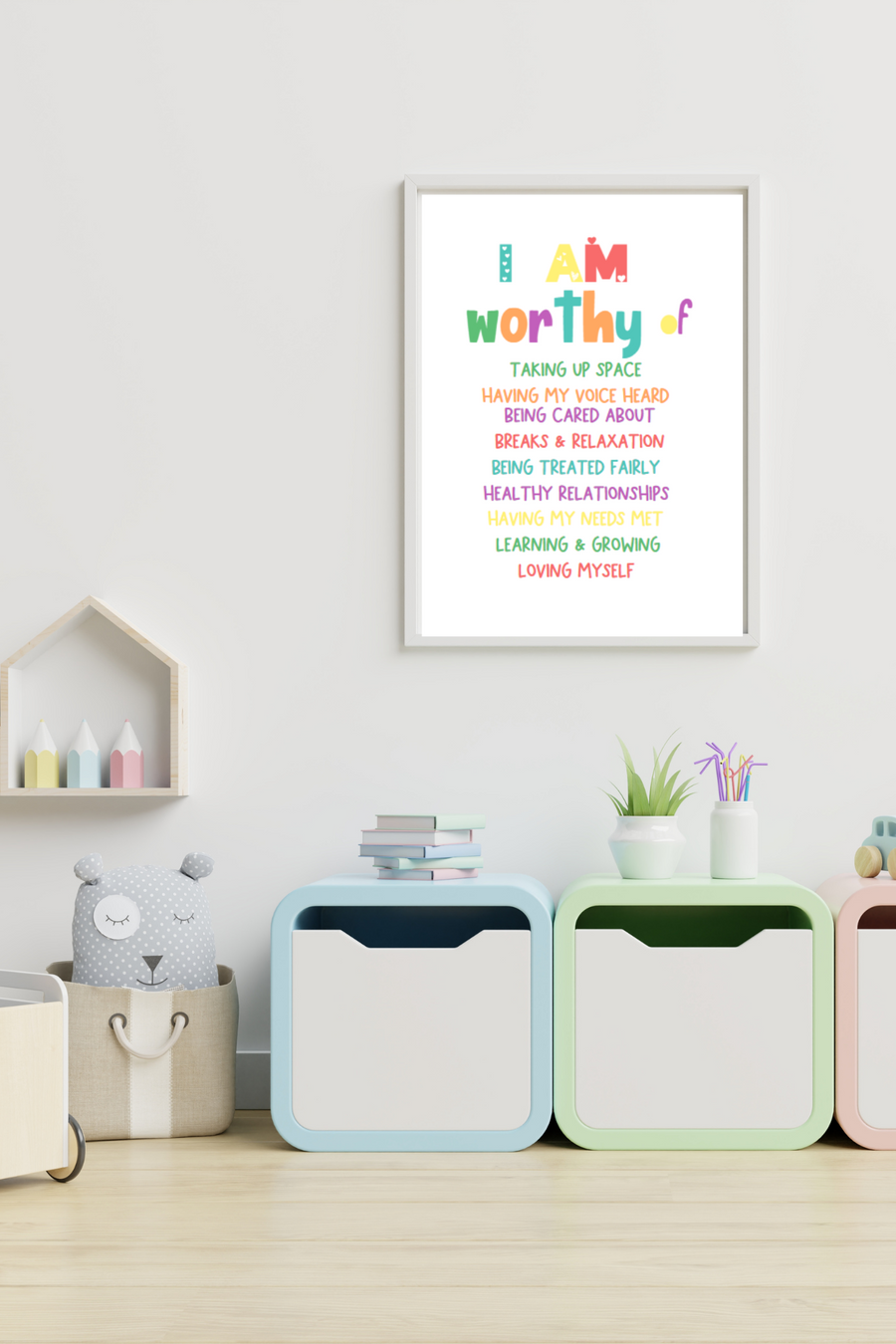 I Am Worthy of Affirmation Print | Positive Affirmations For Kids