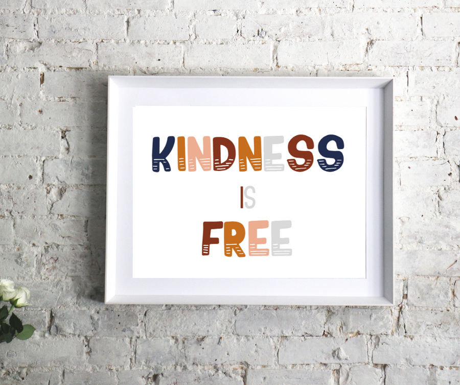 Kindness is free, so sprinkle it like confetti.  We have the power to make the world a better place by simply being kind.  This charming kid's affirmation printable is an empowering and adorable addition to any playroom, classroom, or kid's room.  Kindness matters.