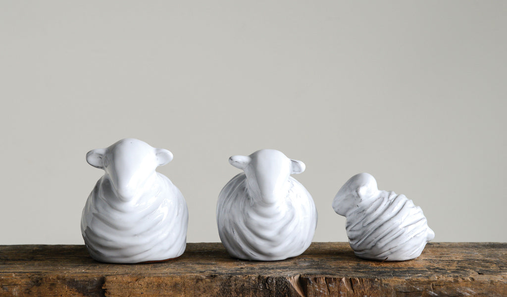 White Terracotta Sheep - Set of 3