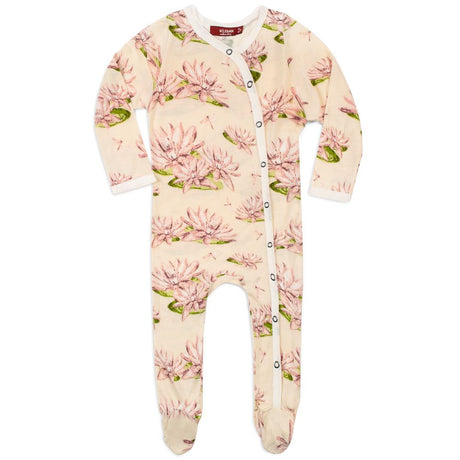 Milkbarn Footed Romper Water Lily 0-3M