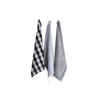 Black, White, Grey Cotton Tea Towel Set of 3