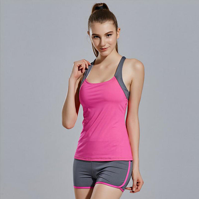 Women Yoga Sets Running Sports Vest + Shorts Set