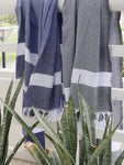 Izla Bodrum Hamam Towel White on Blue
