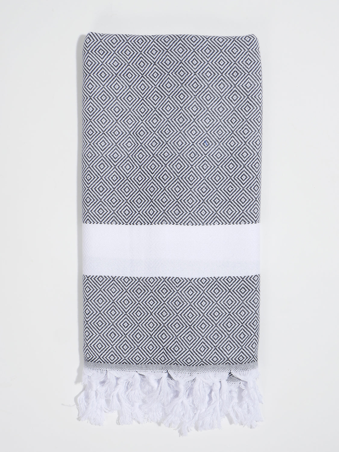 Izla Bodrum Hamam Towel White on Black - Izla