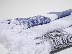 Izla Bodrum Hamam Towel White on Grey - Izla