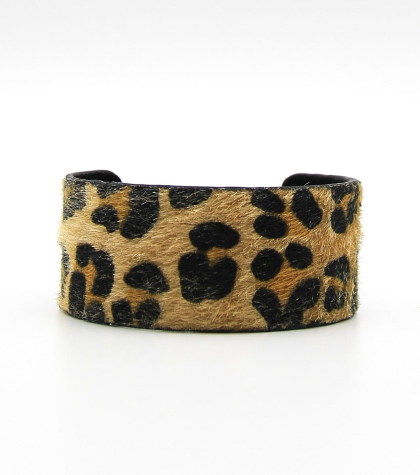 Faux Fur Animal Print Cuff Bracelet