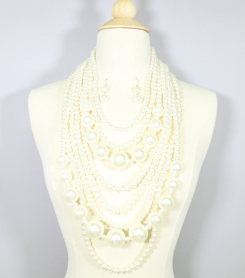 Statement Layered Pearl Necklace Set