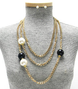 Long Layered Chain Pearl Accent Necklace Set