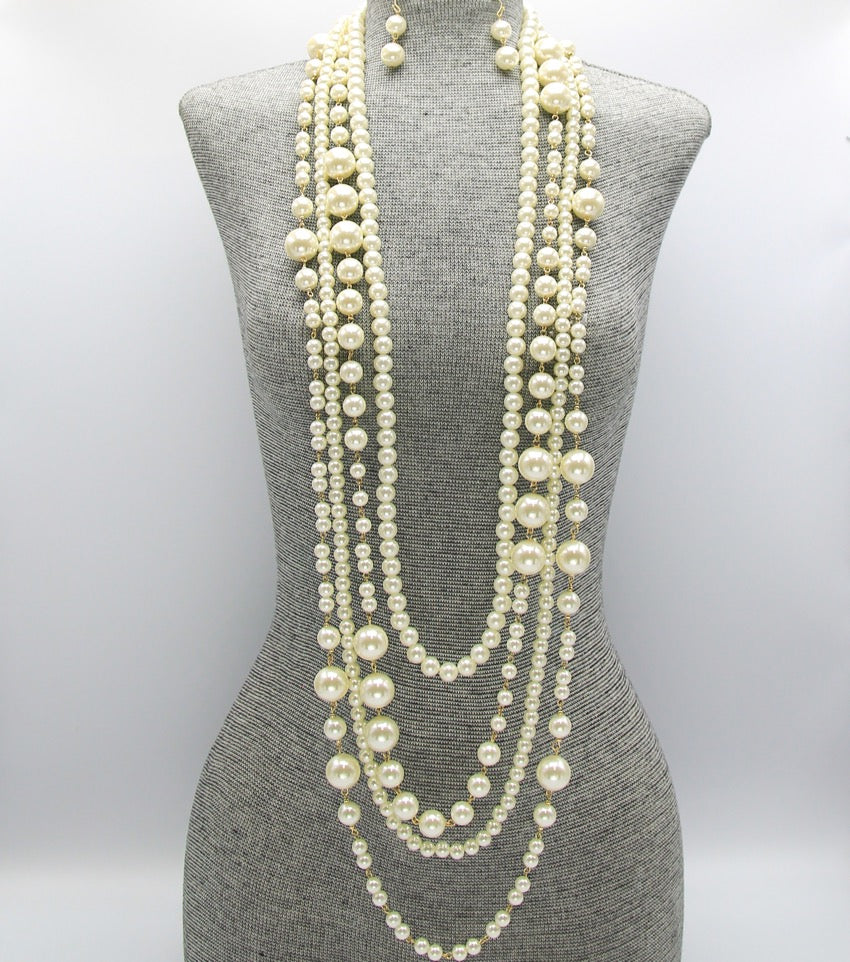 Multi Strand Long Pearl Necklace Set