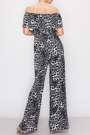 Off Shoulder Animal Print Jumpsuit