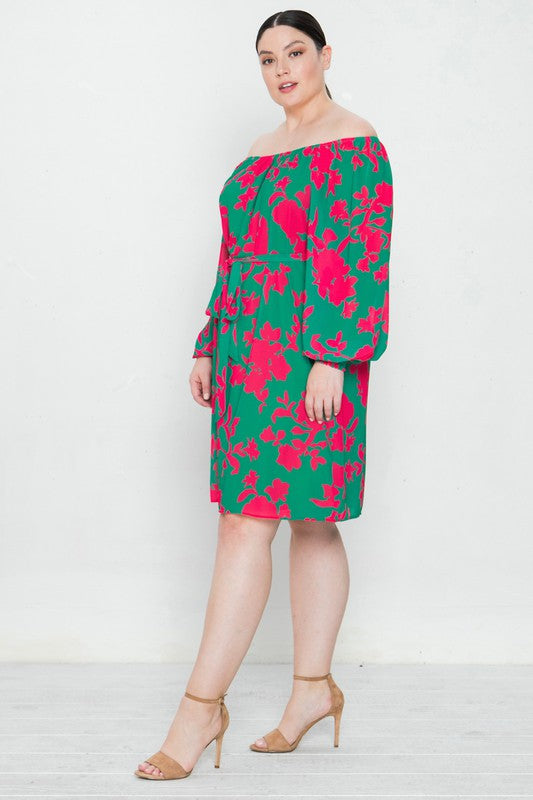 Pink and Green Print Off Shoulder Dress