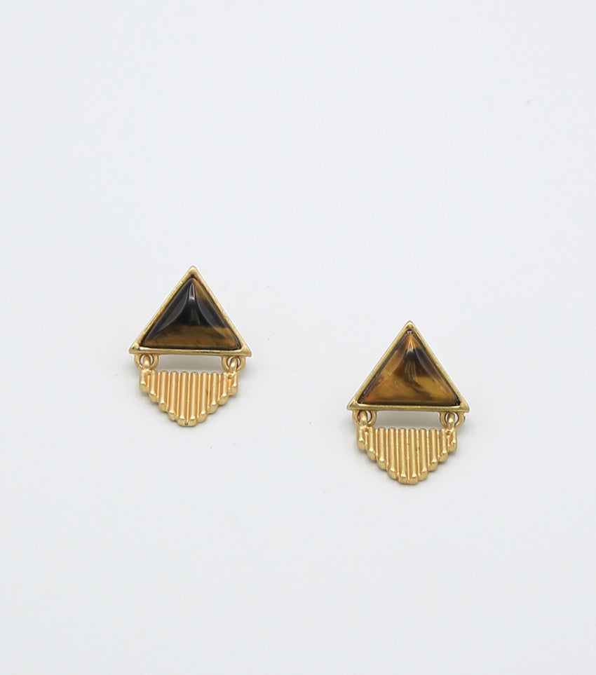Tiger Eye Geo Drop Earrings