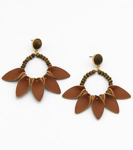 Wood Beaded and Faux Leather Craft Drop Earrings