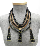 Noir Tri-Tassel Collar with Matching Earrings