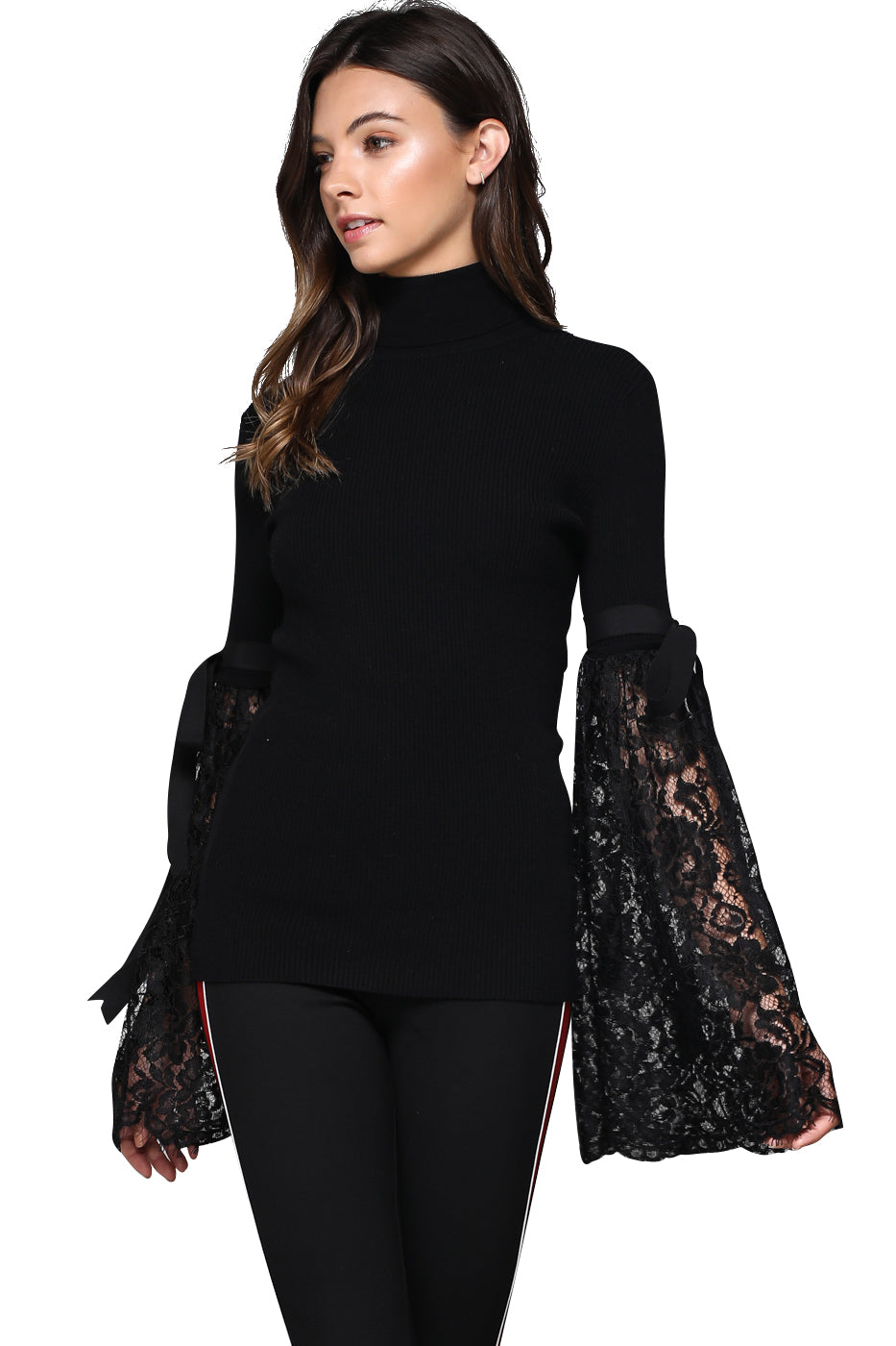 Black Knit Top with Lace Belle Sleeves