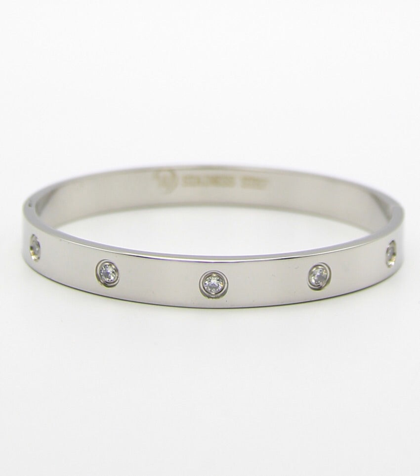 8mm Wide Crystal Pave Stainless Steel Bangle Bracelet (Silver)
