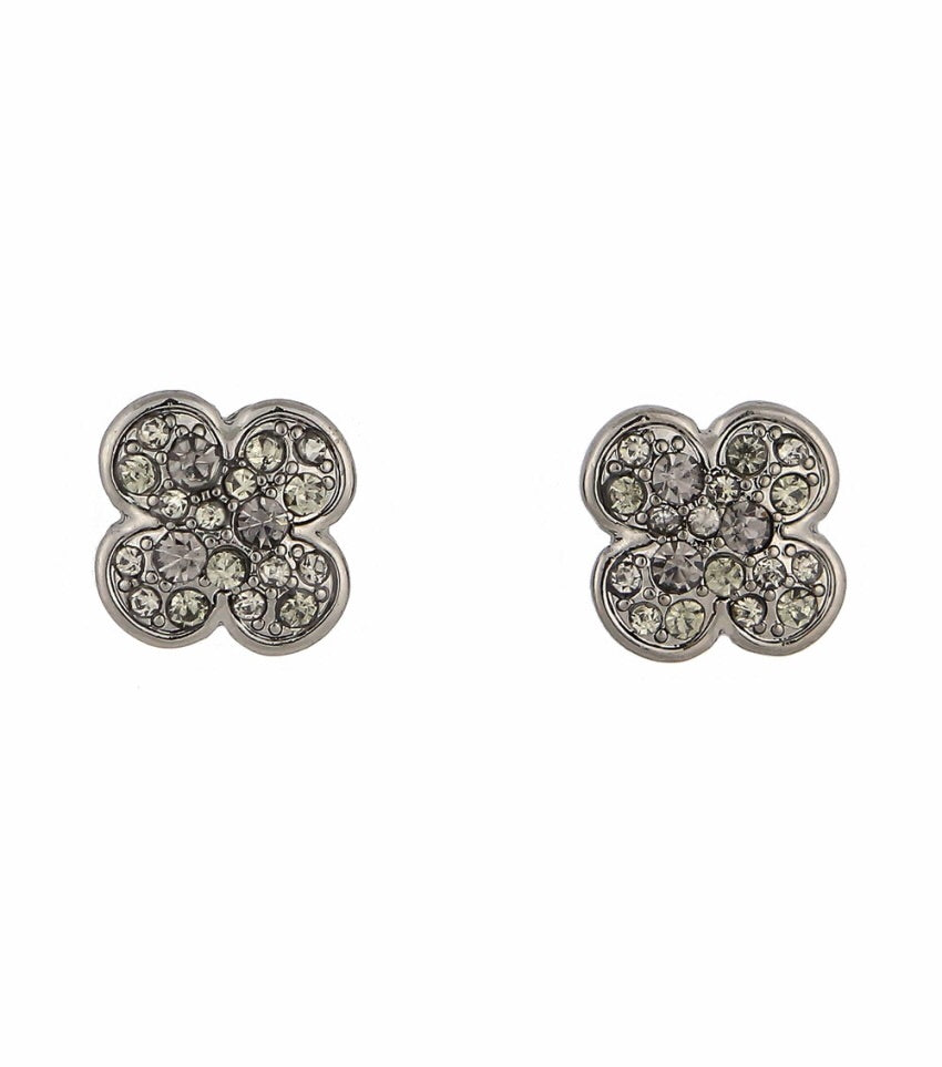 Rhinestone Encrusted Clover Stud Earrings