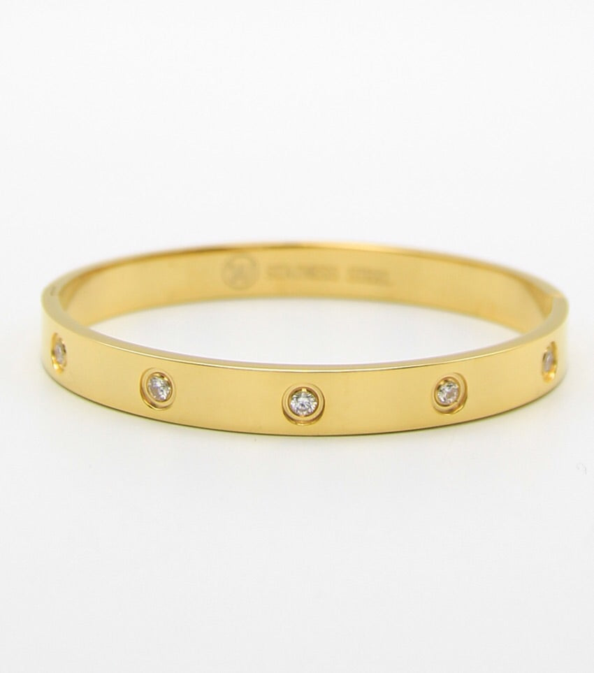 8mm Wide Crystal Pave Stainless Steel Bangle Bracelet (Gold)