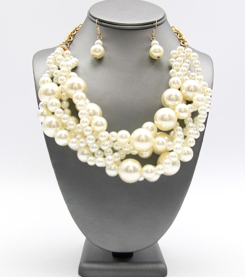 Braided Pearl Beaded Necklace Set