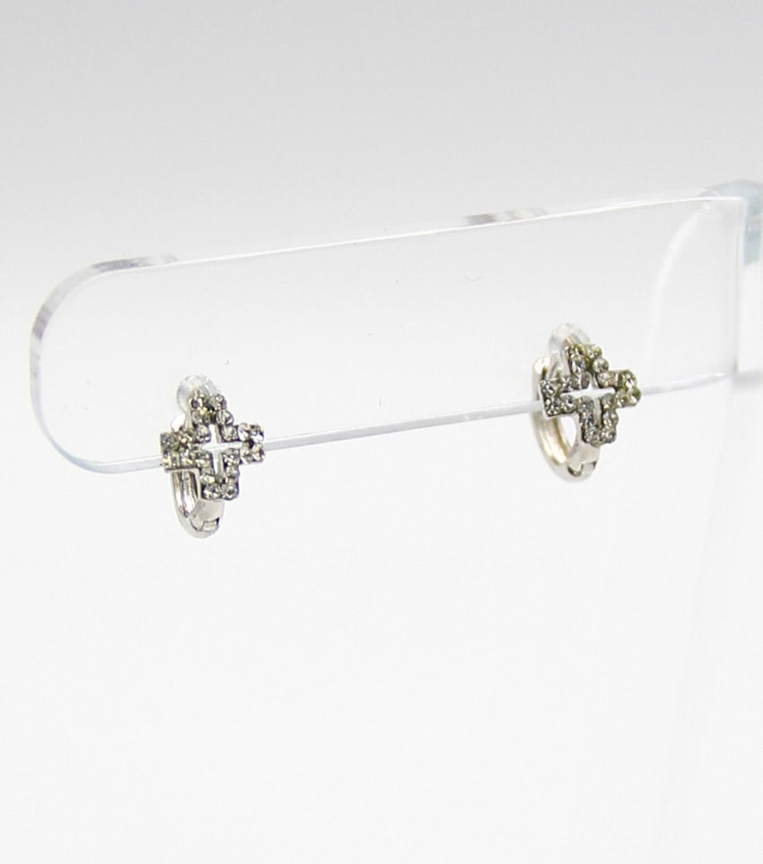 Crystal Pave Dainty Cross Hoop Earrings