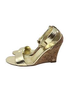 Gucci Metallic Gold Leather Santander Ankle Strap Cork Wedge Sandals