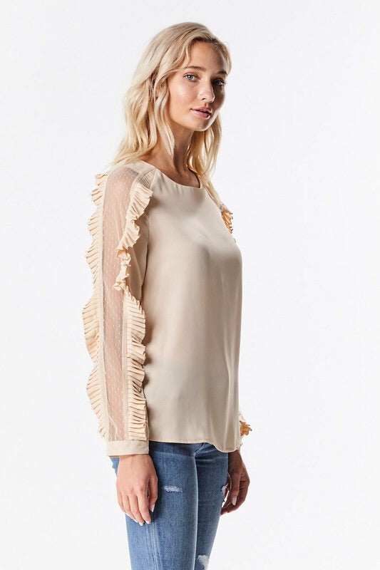 Ruffle and Lace Sleeve Ponte  Blouse