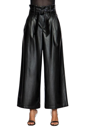 Faux Leather Wide Leg Pants