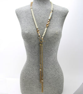 Glass Beaded Tassel Necklace Set
