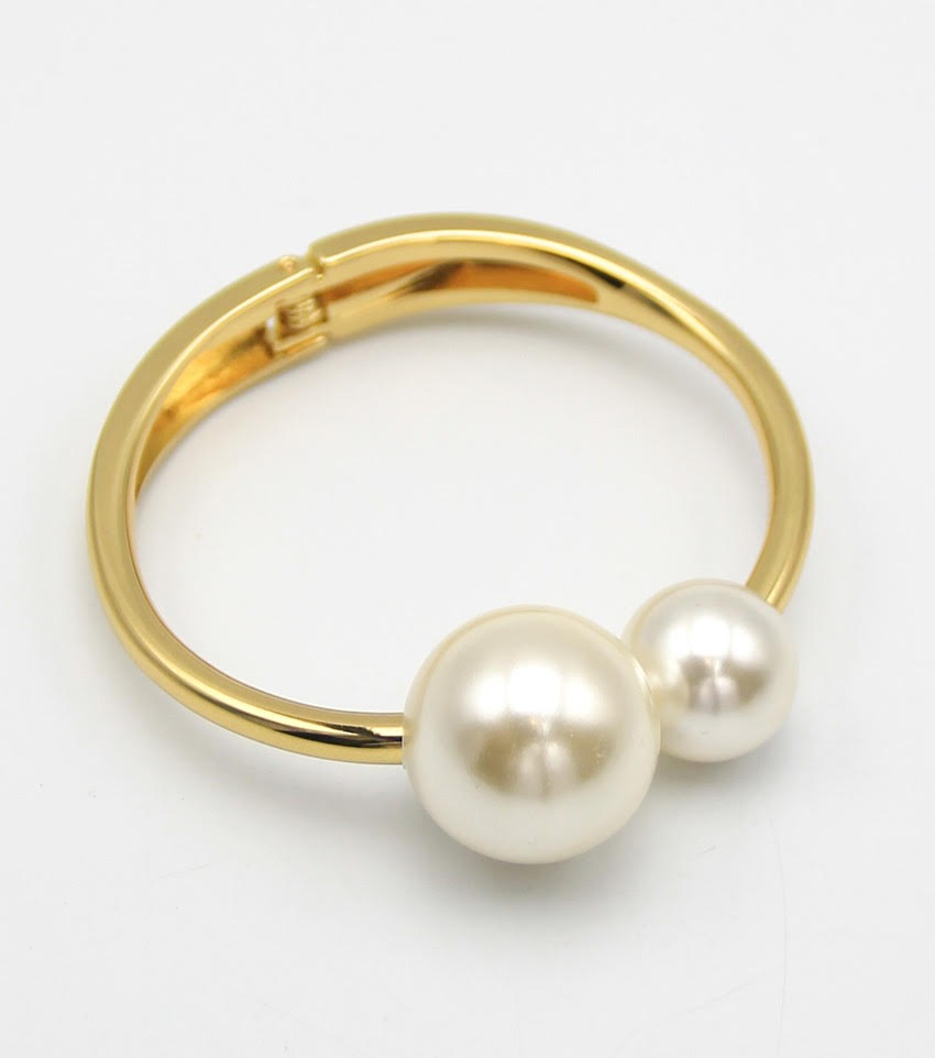 Double Pearl Hinge Bangle Bracelet