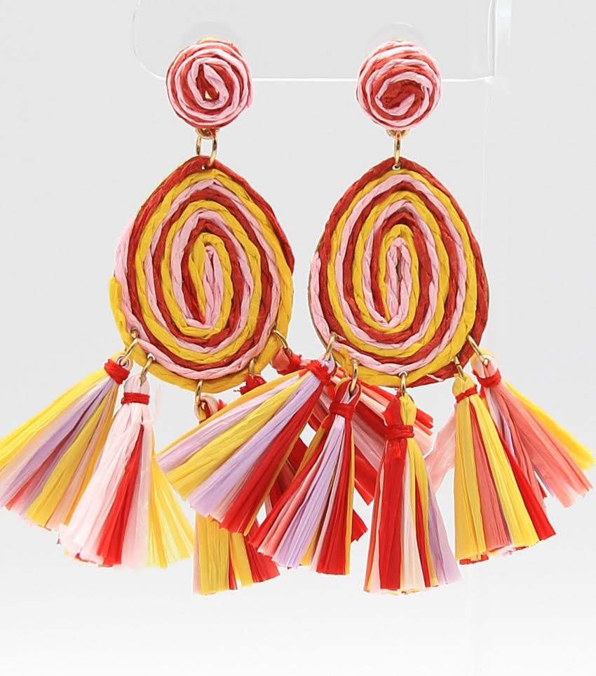 Raffia Tassel Drop Earrings