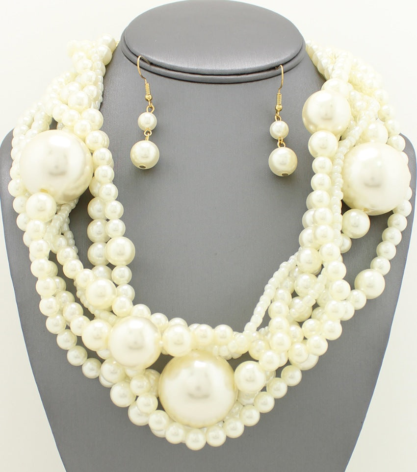 Multi-Strand Pearl Braided Necklace Set
