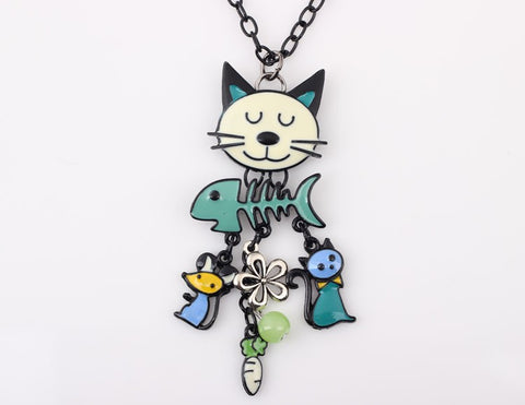 Enamel Pendant Cat Necklace